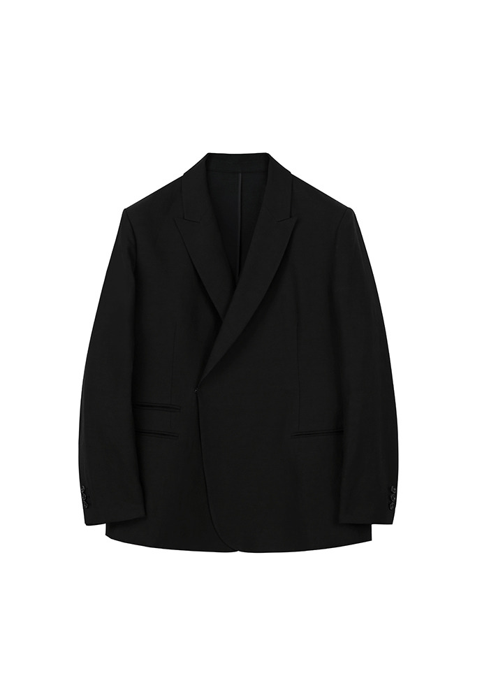 Luke Half-double Unstructured Linen Blazer_ Black