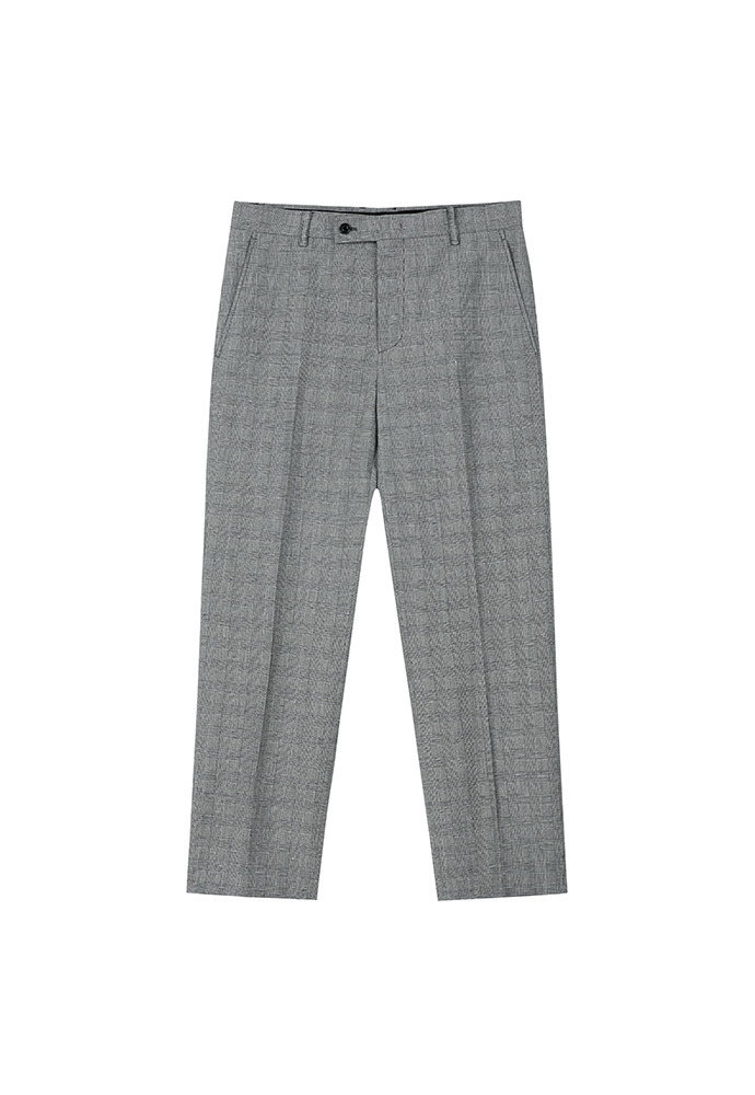 Muse Linen-cotton Trousers_ Grey Check