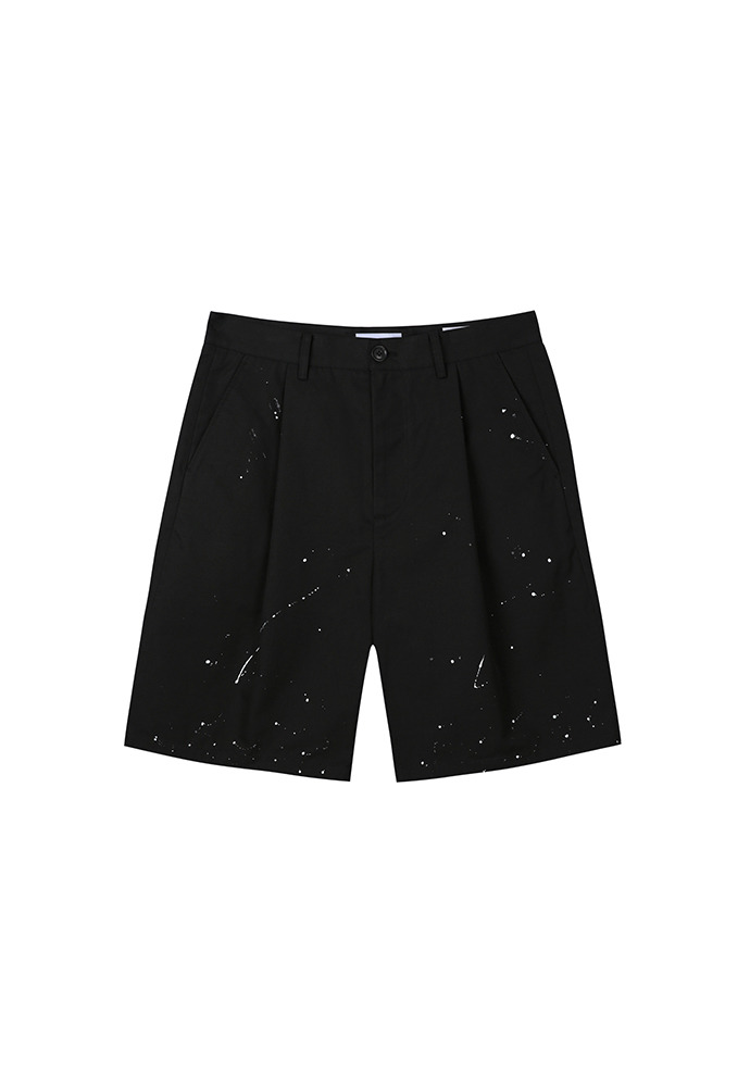 Row Painting Pleated Wide Shorts_ Black