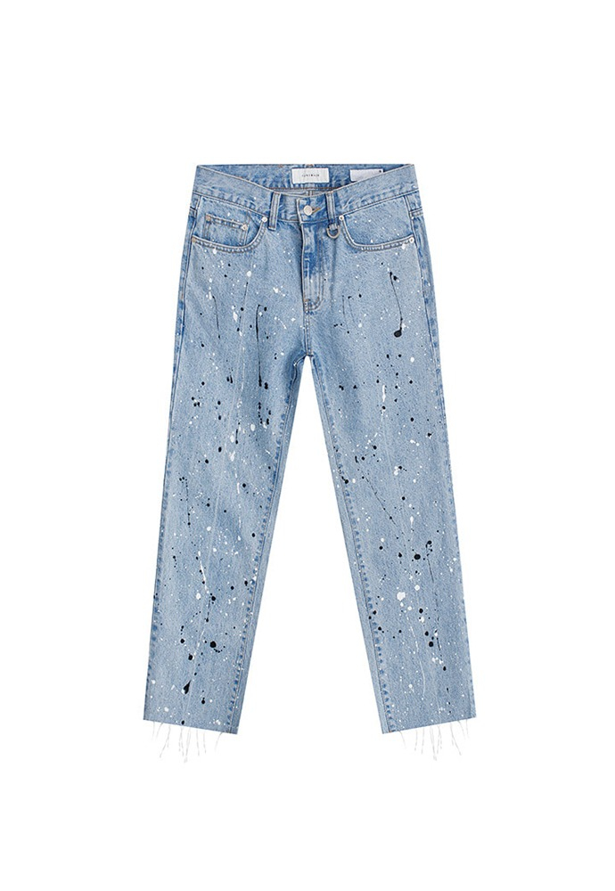 Musk Painting Slim-Straight Jeans_ Light Blue