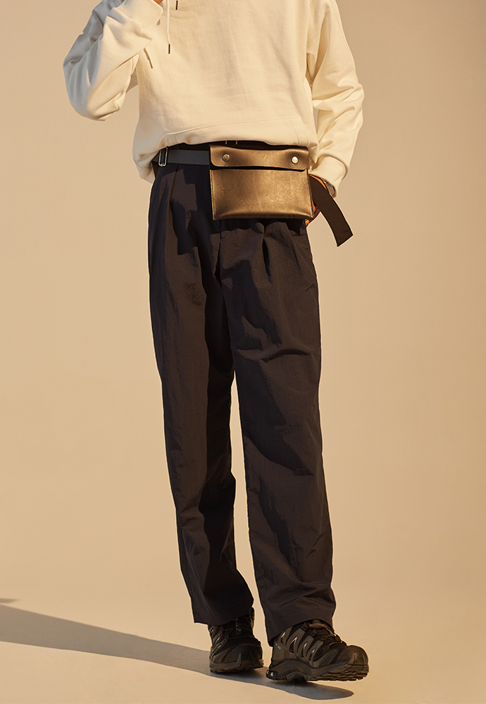Crudo Belted Nylon Trousers_ Navy