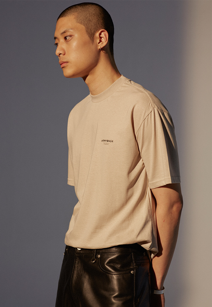 Dept. Mock-Neck T-Shirt_ Sand
