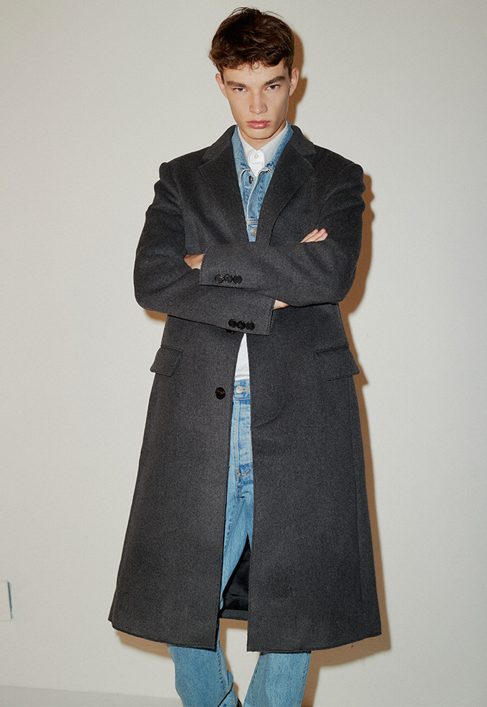 Crudo Cashmere Cutting Coat_ Charcoal