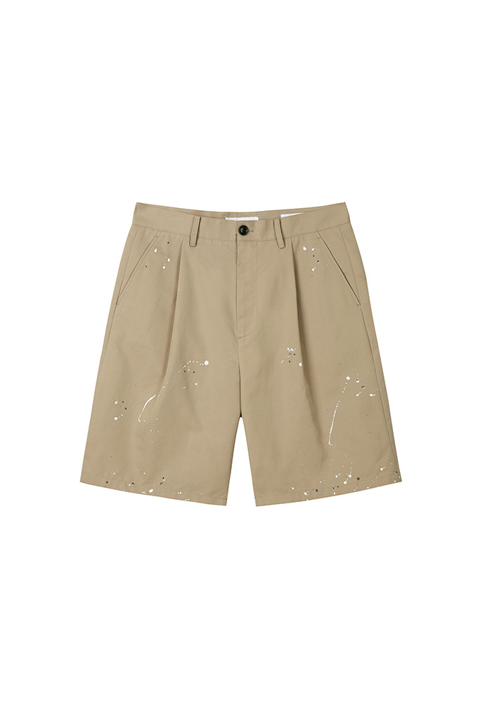 Row Painting Pleated Wide Shorts_ Beige