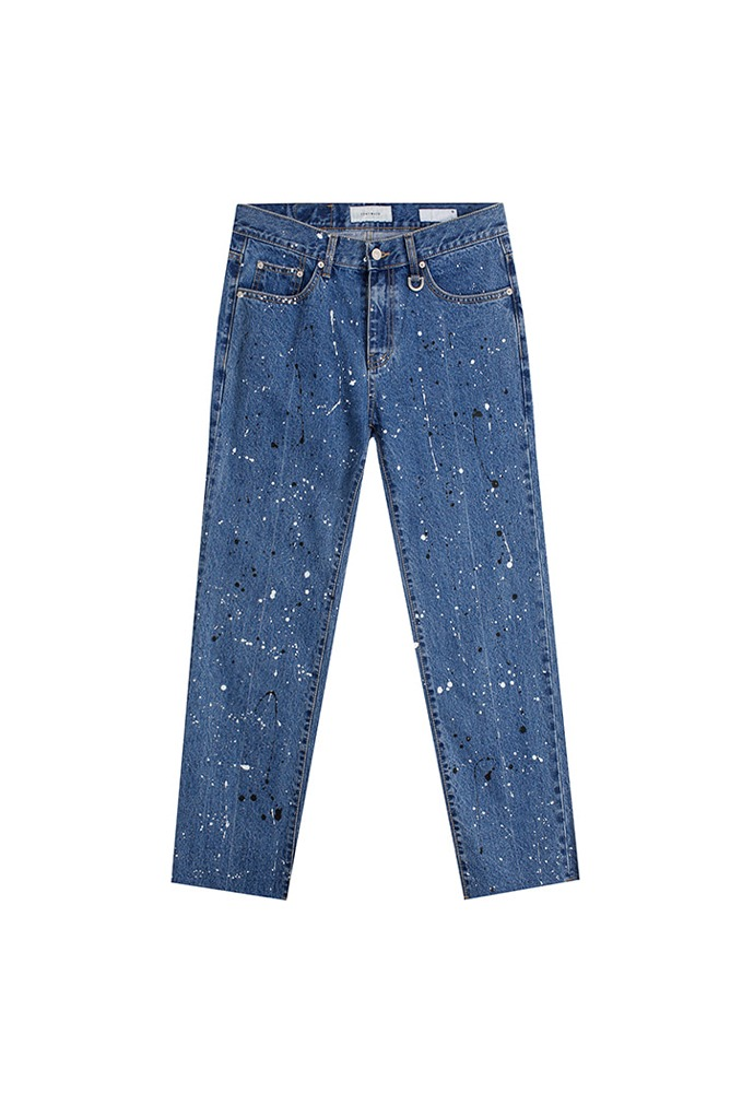 Musk Painting Slim-Straight Jeans_ Mid Blue