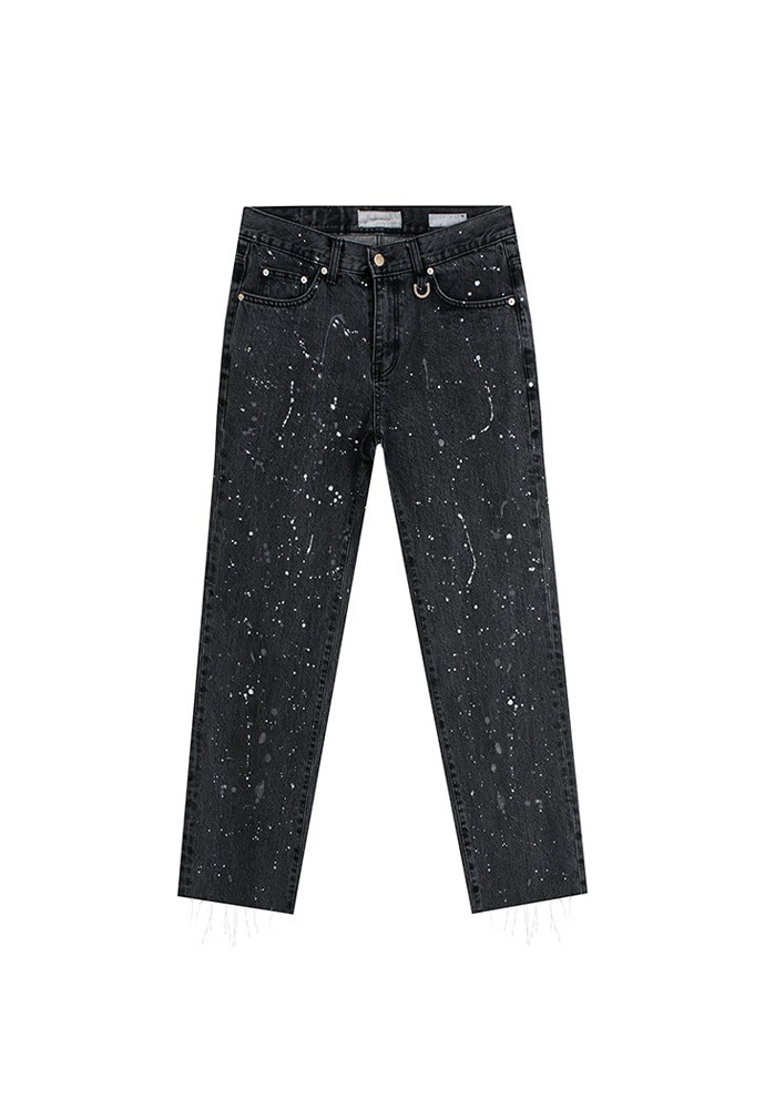 Musk Painting Slim-Straight Jeans_ Black Washing