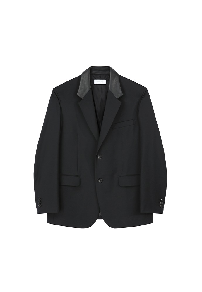 Tibi Leather Collar Blazer_ Black
