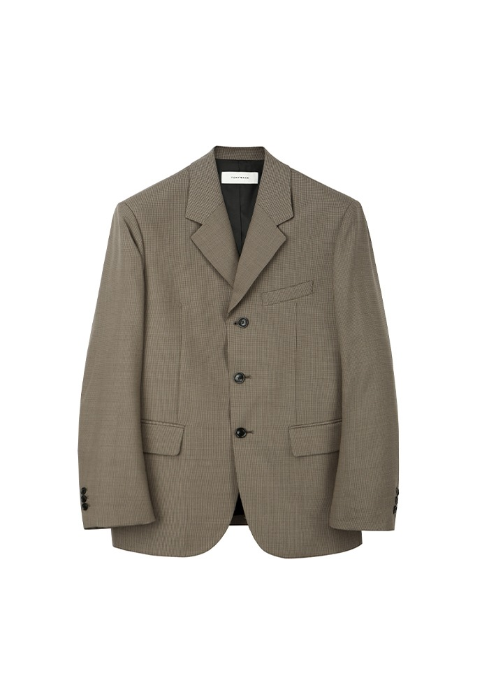 Crudo 3-button Single Blazer_ Brown Check