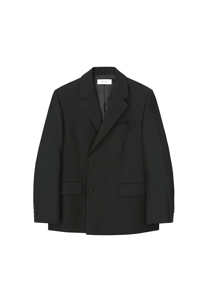 Tailored Half-wrap Blazer(high-twist wool 100%)_ Black